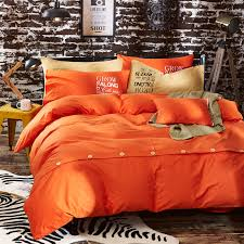 Orange Bed Sets Cotton Solid Color Comforter Bedding Sets Botton Plain Orange