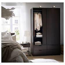 trysil wardrobe w sliding doors 4 drawers dark brown 118x61x202 cm