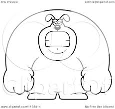 cartoon clipart of an outlined angry buff dog black and white