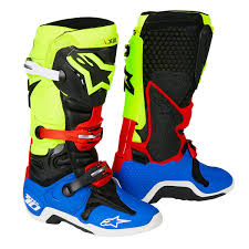 motocross boots alpinestars alpinestars mx boots tech 10 black yellow fluo blue 2018 maciag