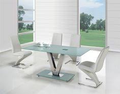 Frosted Glass Dining Table And Chairs Actona Glass Dining Table With 4 Designer Z Chairs In White Faux