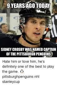 Pittsburgh Penguins Memes - 9yearsagotoday sidney crosby was named captain of the pittsburgh