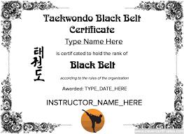 taekwondo black belt certificate template
