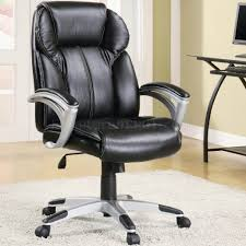 Lift Chair Leather Black Faux Leather Modern Office Chair W Gas Lift U0026 Padded Arms