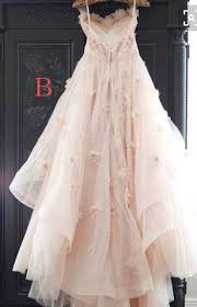 light pink princess tulle wedding dress with flowers lace bridal