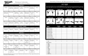 insanity workout calendar fitness test deby blog