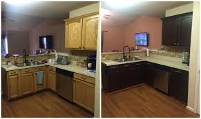 2 Colour Kitchen Cabinets Diy Painting Kitchen Cabinets Before And After Pics