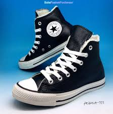 converse all star leather trainers black sz 5 mens womens fur high