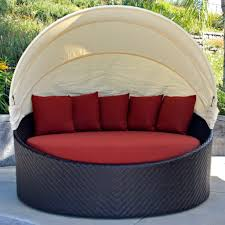 Outdoor Wicker Patio Furniture Round Canopy Bed Daybed - exterior round wicker daybed with curved canopy tent and red