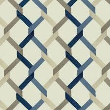 navy taupe trellis fabric by the yard indigo blue