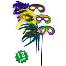 womens masquerade masks12 christmas tree assorted sequined feather stick masks 12 31 31
