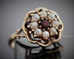 real pearl rings images Rings vintage real pearl and pearl ring tudor rose design 9ct JPG