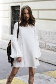 dress white dress spring dress flare minimalist bell sleeves