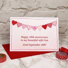 hearts personalised anniversary card by arnott cards gifts