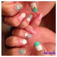 self gel nail pastel color w gems nails pinterest