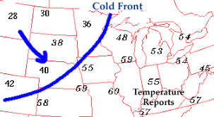 weather fronts map cold front transition zone from warm air to cold air