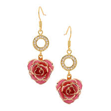 Gold Rose Gold Dipped Rose U0026 Pink Matched Jewellery Set In Heart Theme
