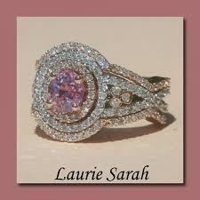 three ring wedding set pink sapphire and three ring wedding set with contoured