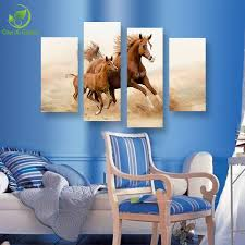 wholesale 4 panel large oil horse painting canvas horse picture