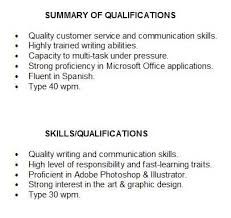 resume skills and qualifications exles for a resume summary of qualifications for students