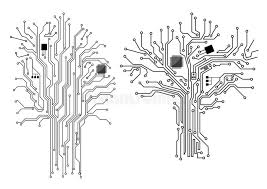 computer tree with chip and motherboard stock vector image 46942256