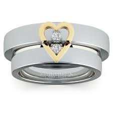 Gold Diamond Wedding Ring Sets by Matching Split Heart Diamond Wedding Ring Set In White And Yellow Gold