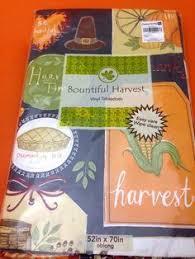 thanksgiving harvest autumn vinyl tablecloth 52 x 90 fall flannel