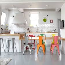 Tolix Dining Chairs Look A White Kitchen With Colorful Tolix Chairs Kitchn