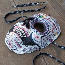 half skull mask halloween for this past craft swap my daughter mom and i made a sugar skull