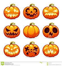 halloween cartoon pumpkins icons set stock vector image 44665296