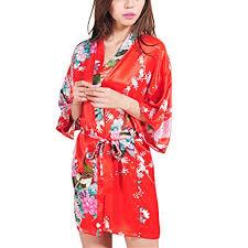 robe de chambre satin femme paon fleur luxe soyeux satin soie kimono peignoir pyjama