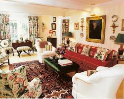 english country living room reds florals english country home