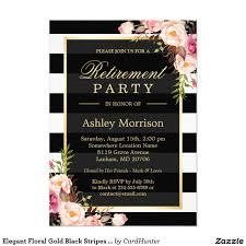 Retirement Party Invitation Card Elegant Floral Gold Black Stripes Retirement Party Card