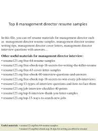 resume exles marketing managing director resume top 8 management director resume sles