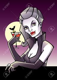 halloween postcard with vampire drinking bloody mary royalty free