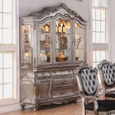 acme furniture chantelle hutch and buffet in antique platinum
