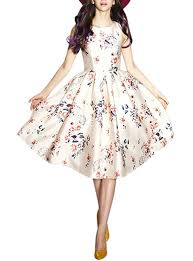 vintage summer midi dress floral off white sleeveless fit