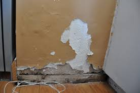 repair repairing bubbling blown plaster on an interior wall