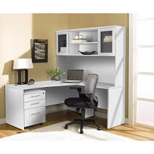 White L Shaped Desks Modern White L Shaped Desk With Hutch Mobile Pedestal
