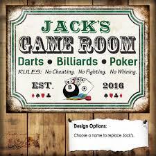 custom game room sign darts billiards poker 1 aluminum sign