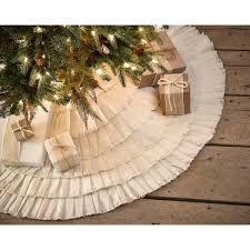 Moose Christmas Tree Skirt Amazon Com Creme Burlap Cotton Ruffled Christmas Tree Skirt 48