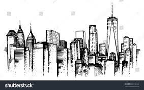 nyc skyline sketch handdrawn illustration new stock vector