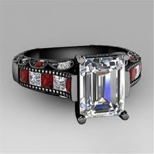 gothic ruby rings images Jewels fashion jewelry black gold ring emerlad cut jpg