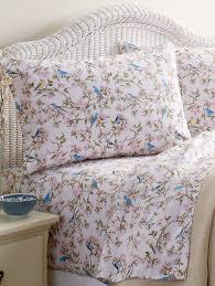 Percale Sheet Set Bird Print Bedding Woven Cotton Percale Sheet Set