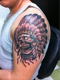 indian headdress tattoo on ribs coloured skull in indian headdress tattoo on shoulder tattoos book