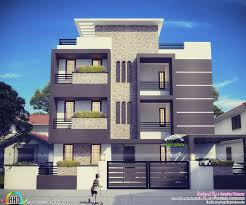 contemporary three storied residential building kerala home design
