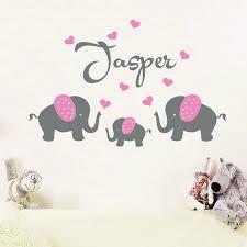 Custom Nursery Wall Decals by Aliexpress Com Buy Personalised Custom Name 3 Elephants With