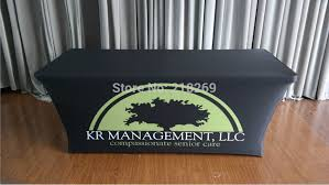 8 ft table cloth with logo custom printed 8ft spandex table covers trade show tablecloth