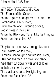 irish music song and ballad lyrics for rifles of the ira