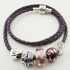 leather bracelet with charms images Pandora purple leather bracelet with 5 assorted charms ale jpg